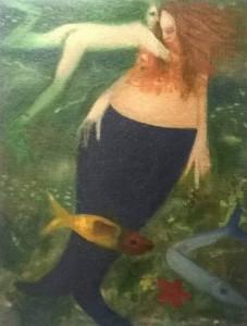 Colapesce s'innamora della Sirena - 2012 olio su tela - Pietro Mantilla artista Messinese