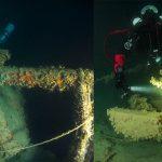 Sulla sinistra: Edoardo Pavia esamina il cannone 100/47 OTO a prora della torpediniera. Foto: Michele Favaron. A destra: un subacqueo illumina la meccanica del pezzo di artiglieria. Foto: Michele Favaron