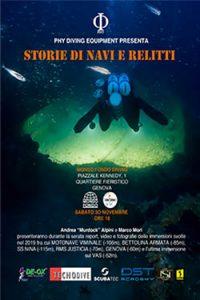 locandina conferenza GENOVA mondo fondo diving andrea murdock alpini marco mori giò sub PHY