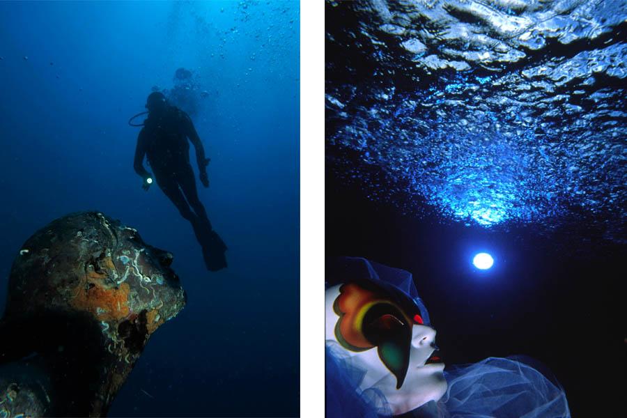 A sinistra, Foto Graziella Basile_modella Federica D'Agata. A destra, Foto Riccardo Cioni_Campionato del mondo di foto creativa in piscina Parigi 1997